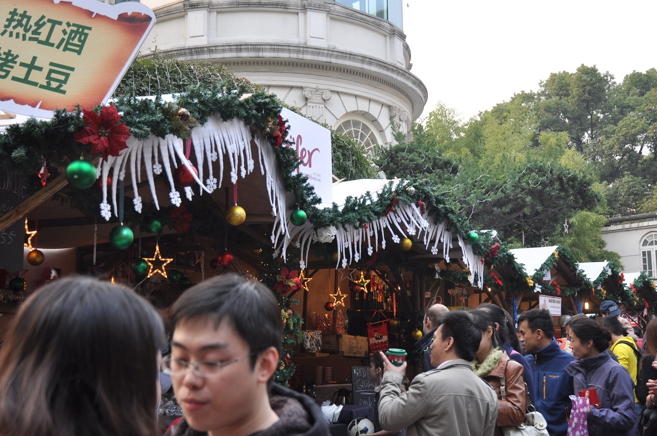 Weihnachten China Weihnachtsmarkt Shanghai