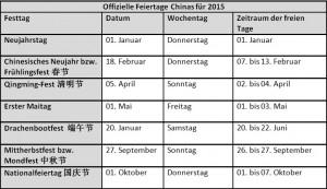 China offizielle Feiertag