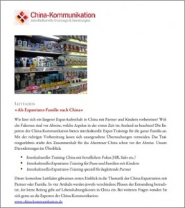 Leitfaden - Als Exptratiates-Familie nach China